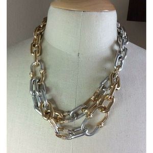 Kenneth Cole Two Tone Large Link Chunky Necklace